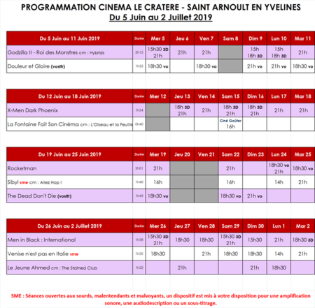 Programmation de juin 2019