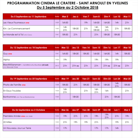 Programmation septembre 2018